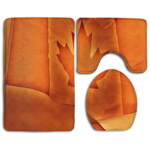 Quen Orange Canada Flag Bathroom Carpet Rug,Non-Slip 3 Piece Bathroom Mat - Canada Usps Ship To Will