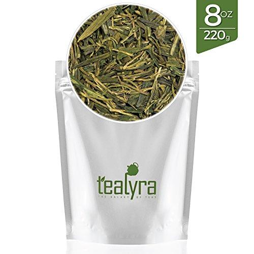 Tealyra   Premium Dragon Well   Long Jing   Green Tea   Loose Leaf Tea   First Grade   Organically Grown   8 Ounce