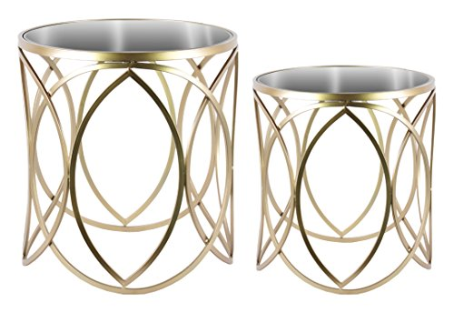 Urban Trends Round Nesting Accent Table with Mirror Top and Swirl Design Set of Two Metallic Finish Champagne