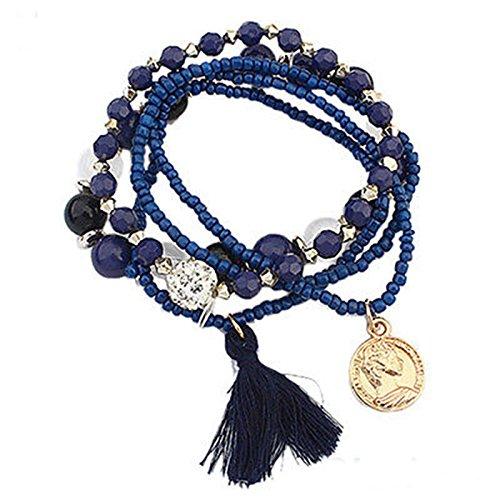 Girl Stylish Bohemian Multilayer Mixed Acrylic Beads Rhinestone Elastic Bracelet LOVE STORY (Blue)