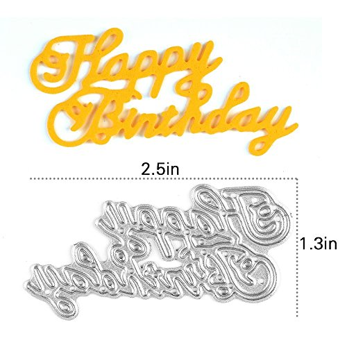Happy Birthday Scrapbooking Die Cuts Einfachheit Carbon Steel Stencil Metal Album Card Paper Craft Decoration DIY Template (Halloween Pumpkin Cupcakes Pictures)