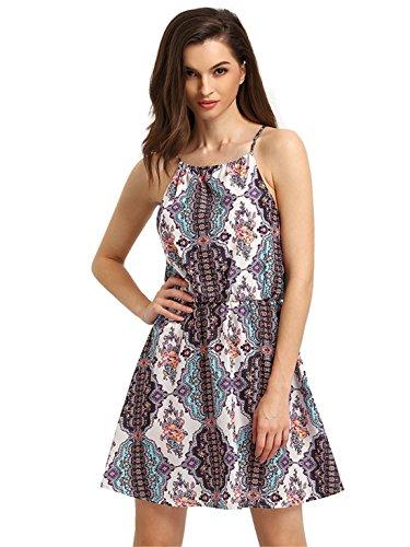 Print Strappy Dress (ROMWE Women's Spaghetti Strap Halter Neck Tribal Print Dress Multicoloured)