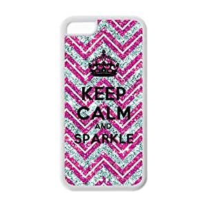 Diystore Glitter Pink Chervon Keep Calm Sparkle IPHONE 5C Best Rubber Cover Case