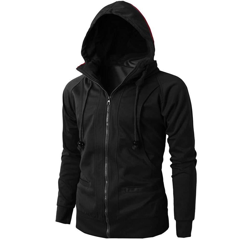 Teresamoon Fashion Mens Autumn Winter Long Sleeve Sport Zipper Hoodie Pullover Blouse Tops Clearance