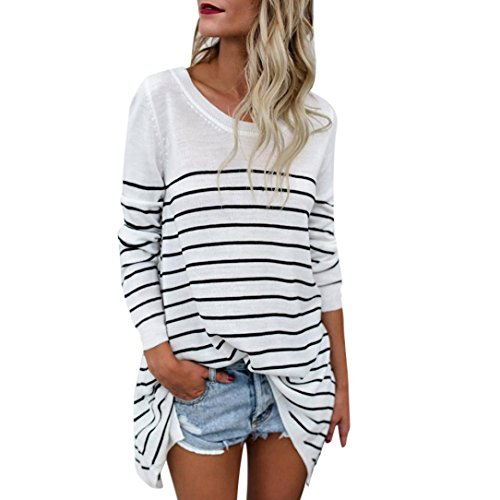 ZLOLIA Women Top Autumn Winter Stripe Loose O Neck Long Sleeve Sweatshirt Blouse (L, White)