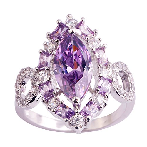 - Veunora 925 Sterling Silver Created Marquise Cut Amethyst Filled Gorgeous Cluster Promise Ring for Women Size 7