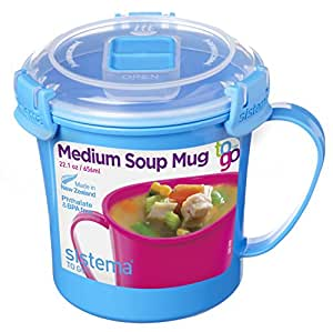 Sistema To Go Collection Microwave Soup Mug, 22 oz, Blue