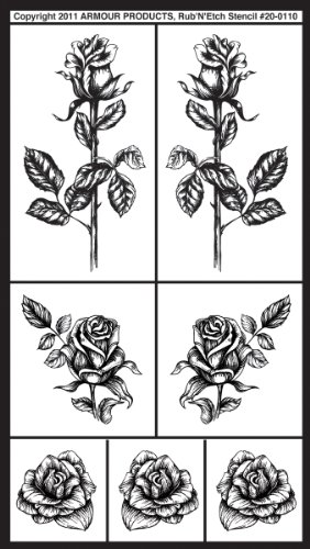Armour Rub N Etch Stencil, Detailed Roses ()