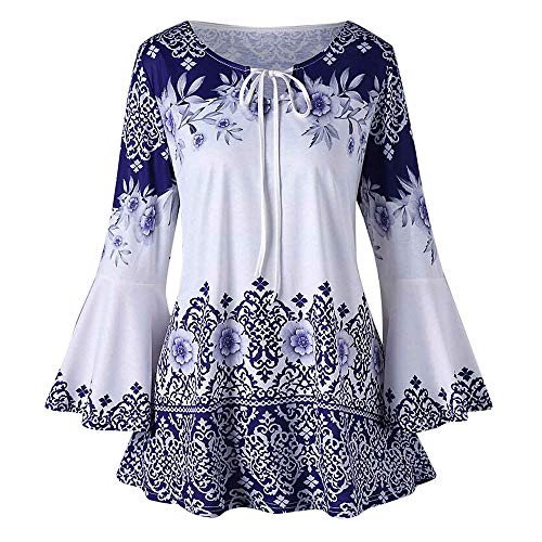 Blouse Shirt Printed Long Sleeve Henley Pleated Casual Flare Tunic Fashion Plus Size Printed Flare Sleeve Tops Blouses Keyhole T-Shirts Womens (5XL,2- Blue)