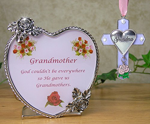 Grandma Gift Set - Grandmother Heart Candle Holder and Hanging Cross with Pink Rose Charm - Grandma Poem on Candle Holder