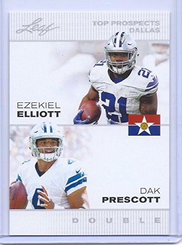 dak-prescott-ezekiel-elliott-2016-1st-ever-printed-leaf-dual-rookie-card-dallas-cowboys-prospects