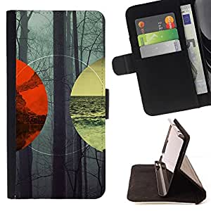 Momo Phone Case / Flip Funda de Cuero Case Cover - Lanscape Geometría Bosque Mar Montaña;;;;;;;; - Samsung Galaxy Core Prime