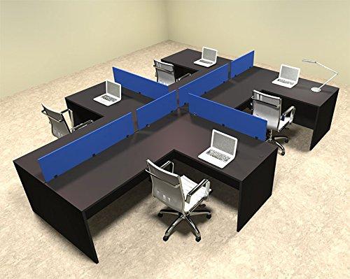 Four Person Blue Divider Office Workstation Desk Set, #OT-SUL-SPB48 by UTM