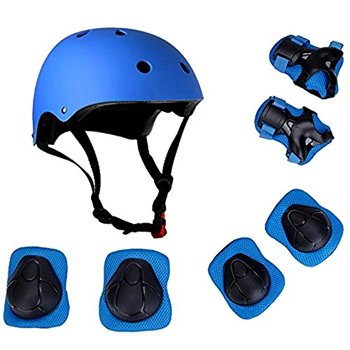 JIFAR Adjustable Helmet Protective Pads Knee Elbow Pads Wrist Guards Sports Support Safety Set Equipment for Scooter and Rollerblading Skateboard and Other Extreme Sports Activities (7 Pieces Sets)