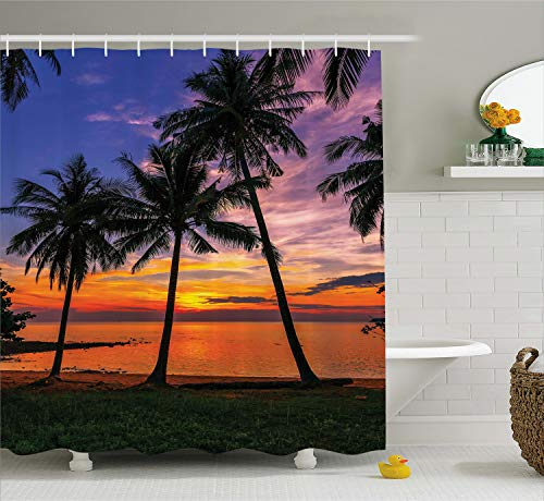 Ambesonne Tropical Shower Curtain, Exotic Palm Trees Pattern with Beach and Ocean Sunset in Hawaii Summer Season, Cloth Fabric Bathroom Decor Set with Hooks, 70