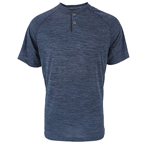 Henley Shirts for Men Short Sleeve Soft Quick Dry Workwear Button Neck Collar Slim Fitted Casual Basic T Top Navy - Sport Henley