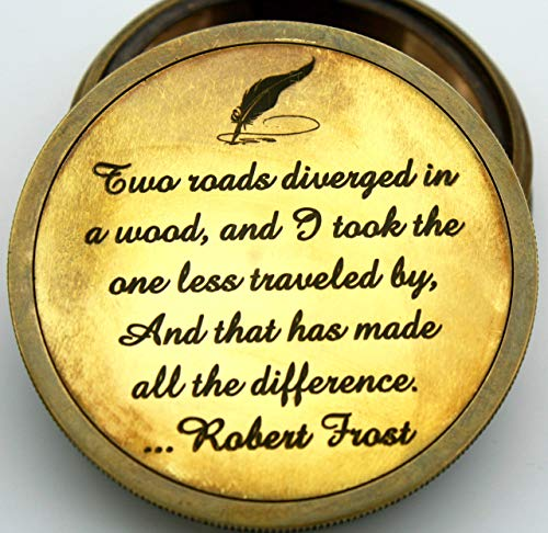 Watch Logo Round (Delhi Arts Robert frost poem Engraved Compass with leather case, Unique Vintage gift for all occasion.Camping compass, Boating Compass, Gift Compass, Graduation Day gifts, Husband, father)