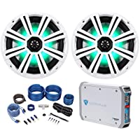 2) KICKER 43KM84LCW 8 600w Marine Boat Speakers w/ LEDs+2-Ch Amplifier+Amp Kit