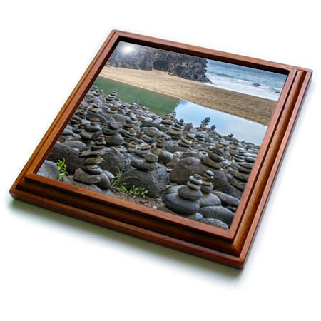 (3dRose Danita Delimont - Beaches - Hawaii, Kalalau Trail, Kauai, Napali, Pacific Ocean, rock cairns - 8x8 Trivet with 6x6 ceramic tile (trv_278938_1))