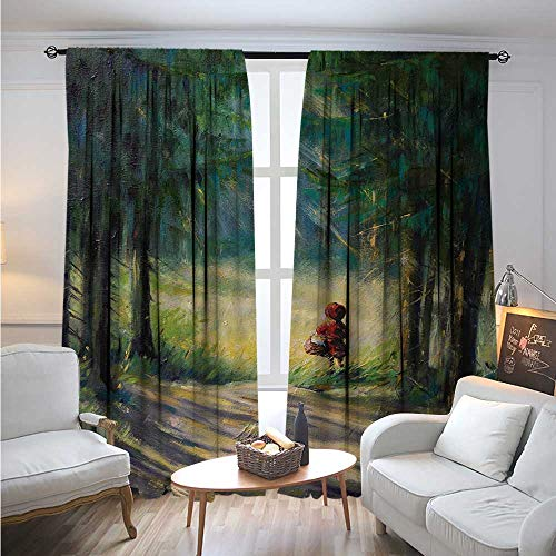 KidsBlackout DrapesWatercolor Ancient Traditional Story Illustration Girl with Red Dress Brush StrokesBlackout Curtains Room Darkening Thermal Insulated W84 x L108 Multicolor