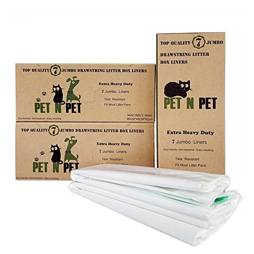 PET N PET Cat Litter Box Liners XLarge Drawstring Cat Litter Bags for Pans 21 Pack