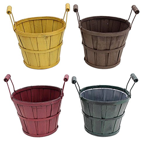 Lucky Winner Set of 4 Wood Basket Planters in Yellow, Brown, Red, Green (Planter Traditional Wicker)