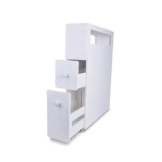 Cravog Wood Slim Bathroom Storage Cupboard Thin Cabinet Unit White ...