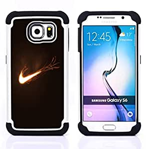 """Samsung Galaxy S6 / SM-G920 - 3 en 1 impreso colorido de Altas Prestaciones PC Funda chaqueta Negro cubierta gel silicona suave (Flaming Logo"""")"""
