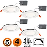 OOOLED 4 inch 9W Dimmable Slim Led Downlight (65W Equivalent) ETL Listed 620LM 4000K Natraullight Junction Box Recessed Lighting,led Ceiling Light,4 Pack(SE) 4000K