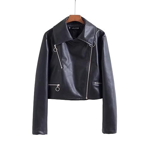 Chaqueta corta mujer Outwear chaqueta de cuero de la PU Slim Casual manga larga cremallera Negro cap...