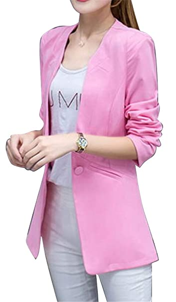 Jotebriyo Women s Fashion Casual Pure Color One Button Longline Slim  Business Blazer Jacket Suit Coat at Amazon Women s Clothing store  644684934c
