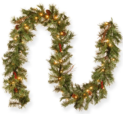 National Tree 9 Foot by 10 Inch Glistening Pine Garland with Berries, Cones, Twigs and 50 Clear Lights -