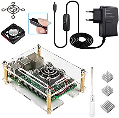 Smraza para Raspberry Pi 3 b+ Caja con Cargador + 3 x Disipador de Aluminio + Ventilador + Cable USB con Conector ON/Off Compatible con Raspberry Pi 3 ...