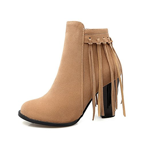 BalaMasa Womens Zipper Fringe High-Heel Round-Toe Solid Suede Boots ABL09723 Yellow ttP2yjwIhn