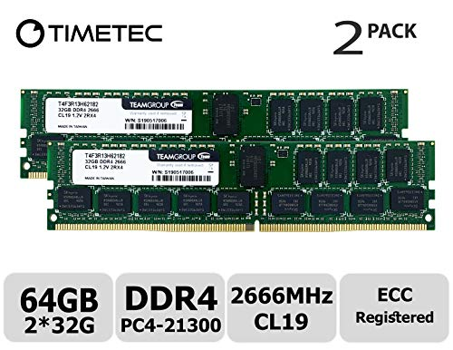 - Timetec 64GB KIT(2x32GB) DDR4 2666MHz PC4-21300 Registered ECC 1.2V CL19 2Rx4 Dual Rank 288 Pin RDIMM Server Memory Ram Module Upgrade (64GB KIT(2x32GB))