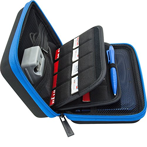 Brendo Carrying Case for New Nintendo 3DS XL, 2DS XL, 3DS Case, Fits Wall Charger, 24 Game Cartridge Holders and Large Stylus - BLACK/BLUE (Nintendo 3ds Power Case)