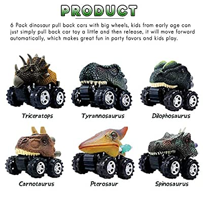 UiiQ Pull Back Dinosaur Cars Animal Dinosaur Vehicles Toys Big Tire Wheel Vehicles Playset for 3+ Years Old Boys Girls Creative Gifts for Kids (6 Pack): Toys & Games