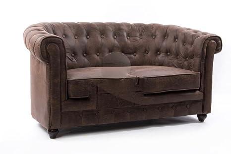 ANGULO interiores Sofa Chester en ecopiel Envejecida con ...