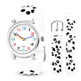 Bling Jewelry White Black Panda Cub Animal Kids Watch Stainless Steel Back