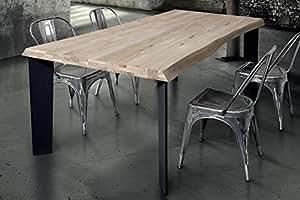 Mesa de comedor moderno de diseño cm 160x 90estructura negra Piano maciza natural para sala de comedor cocina restaurante