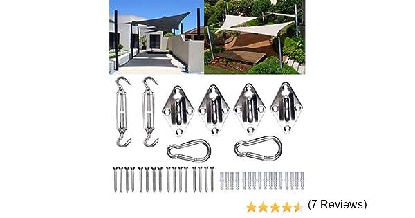 2 Hebillas de Tornillo, 2 mosquetones, 4 Soportes de Pared GZS1221 WOLTU Kit de Montaje para toldo Toldo Accesorios de Acero Inoxidable para Velas de Sombra Set