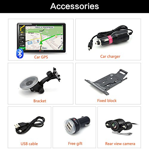 junsun 7 Inch mobile truck GPS Navigation Bluetooth Windows CE 60 System Navigator Rear view along with life time Maps North America truck GPS