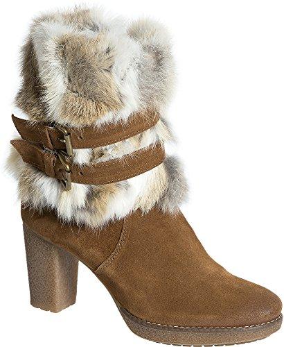 Women's Elise Suede Boots Rabbit Fur Trim ()