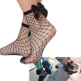 Calze a rete con fiocco,Calze e collant da donna Calze corte a rete con intarsio in pizzo e rete a rete in tinta unita