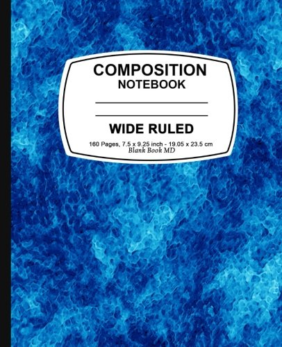 Composition Notebook: Blue Marble,  Lined Composition Notebook, Wide Ruled, 7.5 x 9.25, 160 Pages For for School / Teacher / Office / Student Composition Book