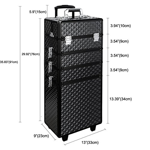 Qivange Makeup Train Case,4 in 1 Professional Rolling Makeup Trolley Case Aluminum Artists Jewelry Cosmetic Storage Case/w 2 Wheels(Diamond Black) by Qivange (Image #6)