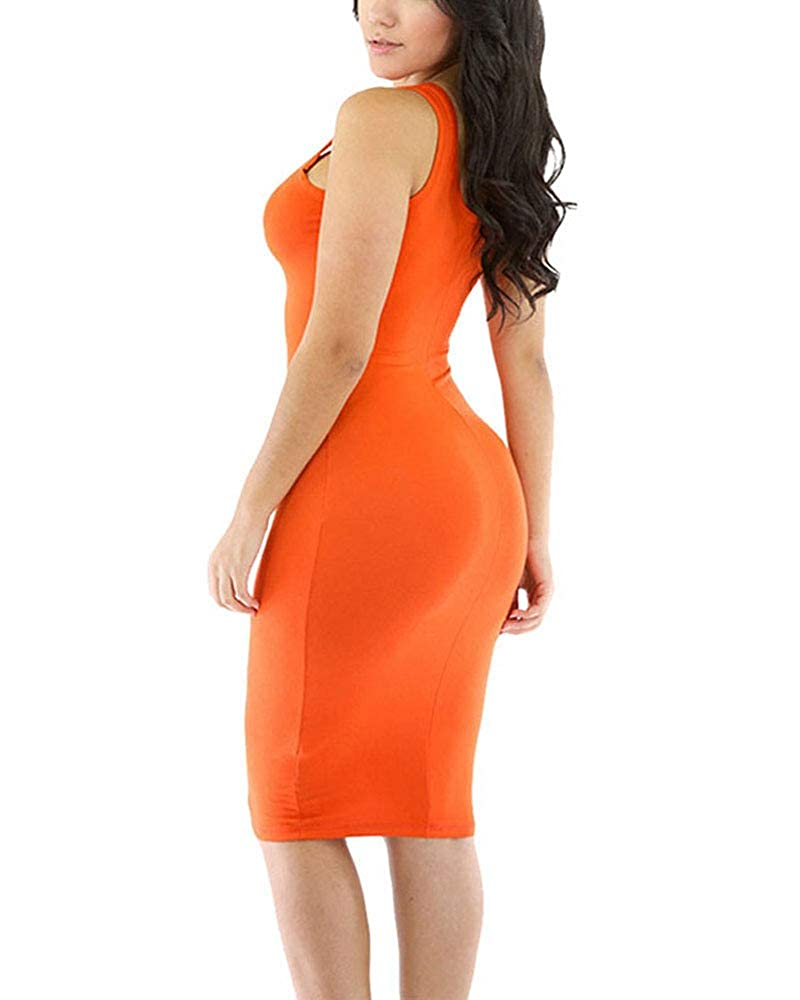 LaSuiveur Womens Crewneck 3//4 Sleeve Spandex Stretchy Fitted Bodycon Club Dress
