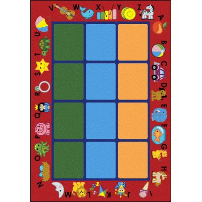 Joy Carpets Kid Essentials Early Childhood Alphabet Phonics Rug, Red, 7'8'' x 10'9'' by Joy Carpets