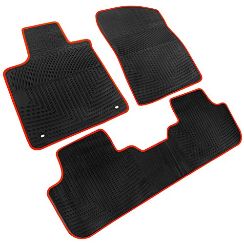 iallauto All Weather Floor Liners Custom Fit Lexus RX350(5 Seats)2016 2017 2018 2019 Heavy Duty Rubber Car Mats Set Vehicle Carpet Odorless-Black Red