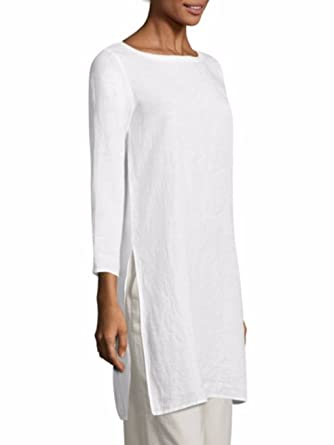ec267805dd Image Unavailable. Image not available for. Color  Eileen Fisher White  Organic Handkerchief Linen Bateau Neck ...